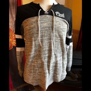 VS Victoria's Secret Lace Up Sweatshirt Gray DOG